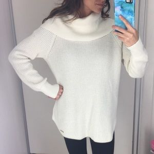 Michael Kors cowl neck waffle knit tunic sweater S